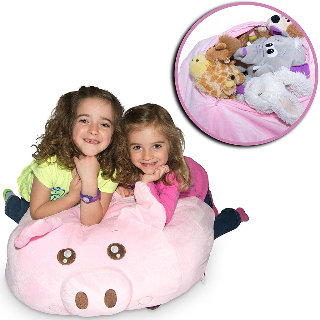 "Jumbo Stuffed Animal Storage Bean Bag - ""Soft 'n Snuggly"" Comfy Fabric Kids Love - Monkey, Pig or Elephant - Replace Your Mesh Toy H"