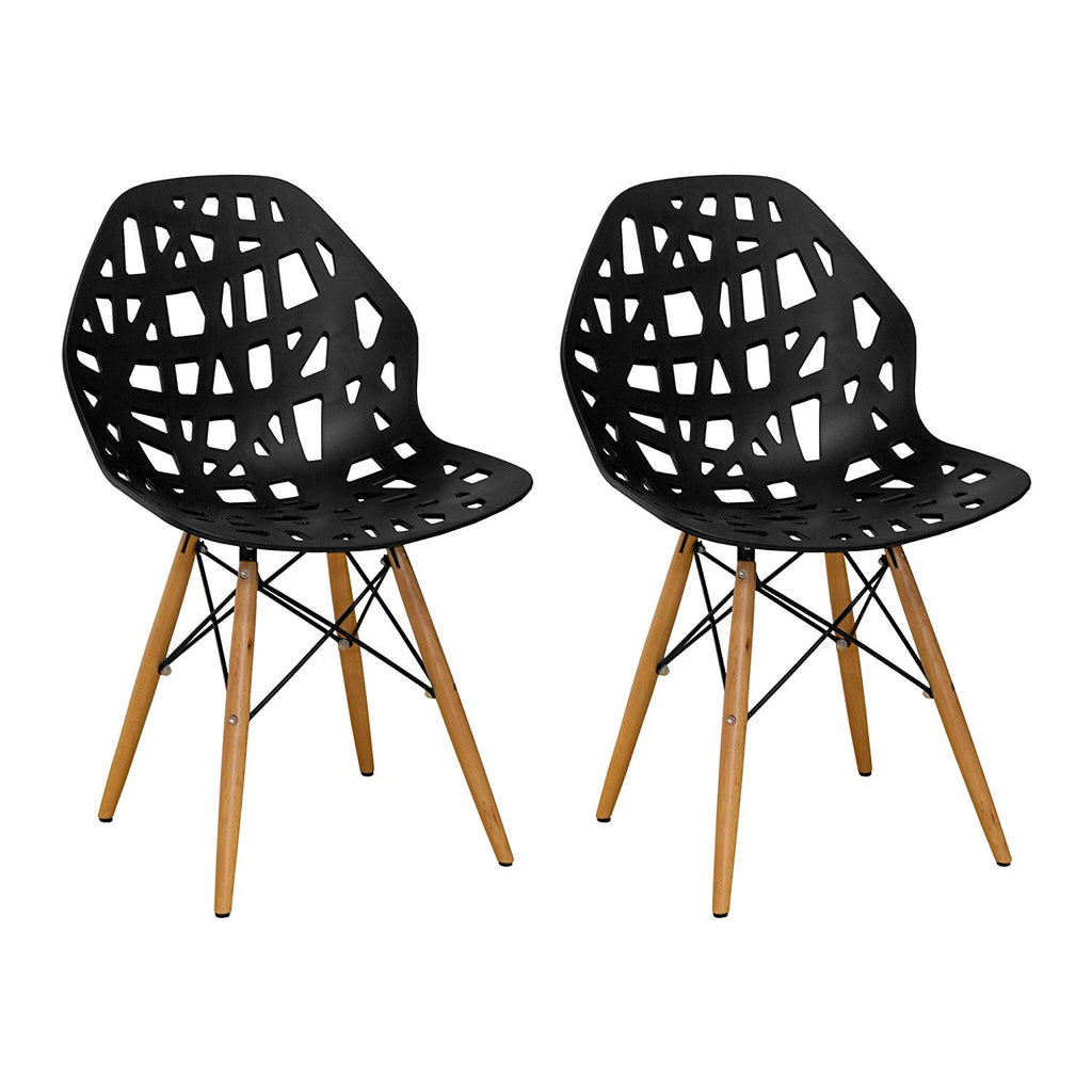 Mod Made Modern Stencil Cut Out Eiffel Dining Side Chair (Set of 2), Dark Grey