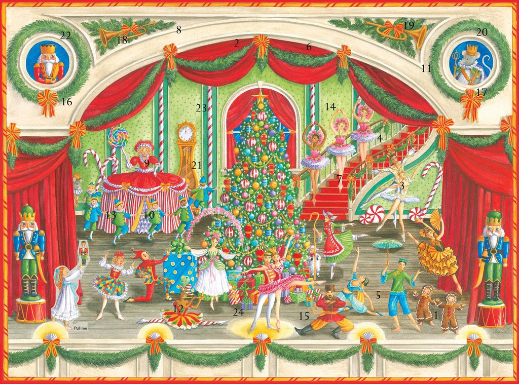 Entertaining with Caspari Christmas Ballet Advent Calendar with 3-D Relief, 1-Count