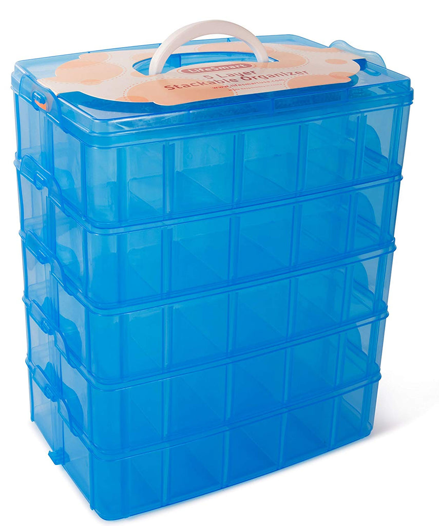 LifeSmart USA Stackable Storage Container Blue - 50 Adjustable Compartments - Store More Than All Other Cases - Lego Dimensions - Shopkins - Littlest