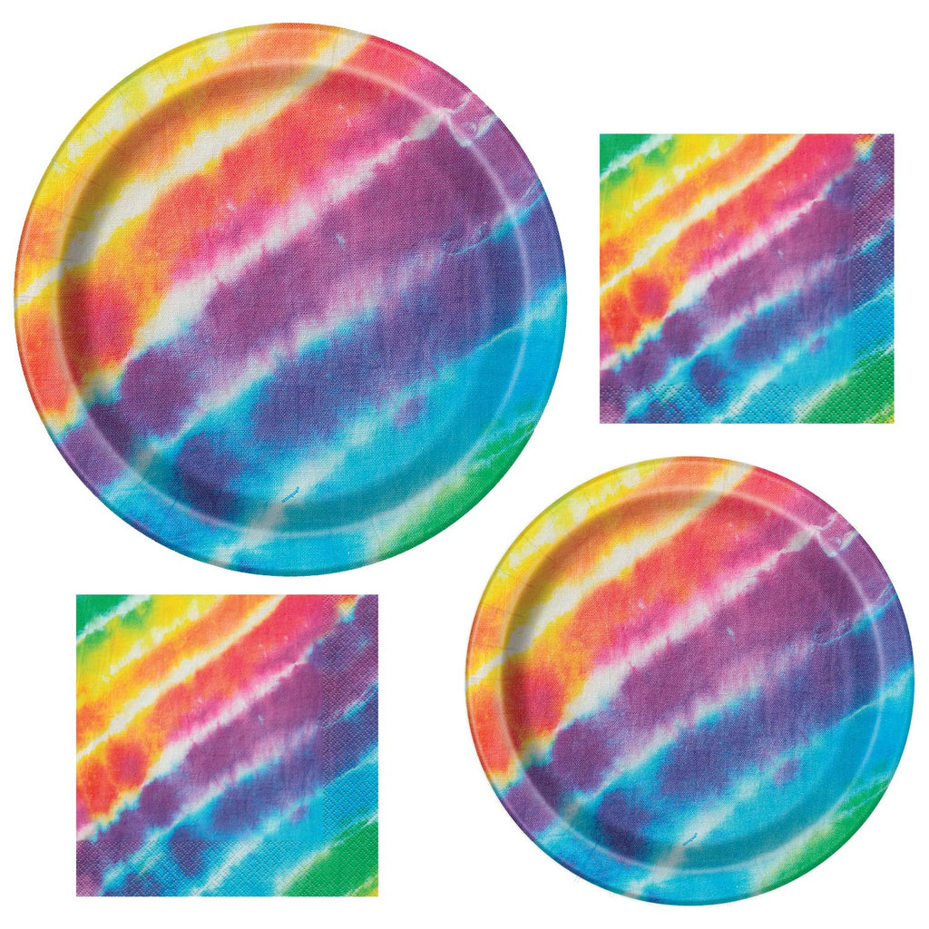 Unique Tie Dye Party Bundle | Luncheon & Beverage Napkins, Dinner & Dessert Plates | Great for Dessert Birthday Themed Parties