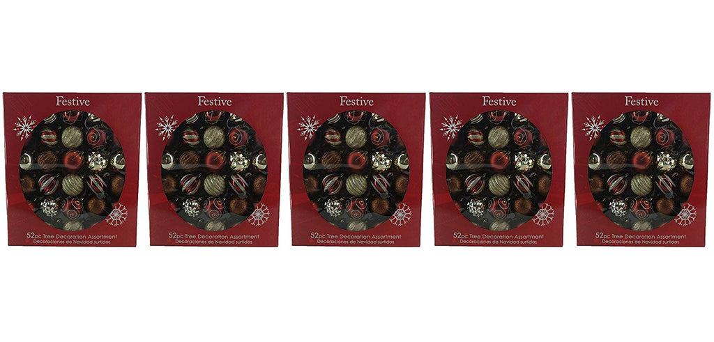 Festive 52 Piece Assorted Bauble Christmas Ornament Set, Maroon & Gold (5-(Pack))