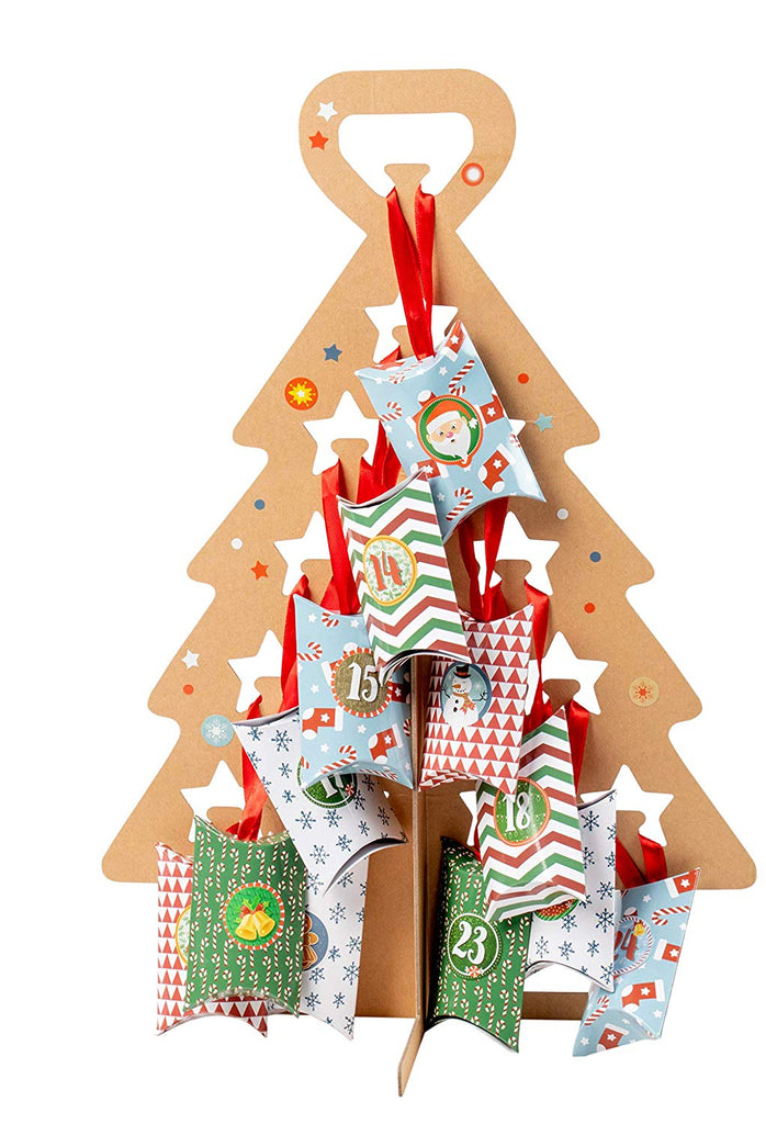 Juvale Advent Tree Calendar Set - DIY Kraft Standing Cardboard Christmas Tree, Includes 24 Mini Gift Boxes, Numbered Stickers, Red Ribbon, Large Holid