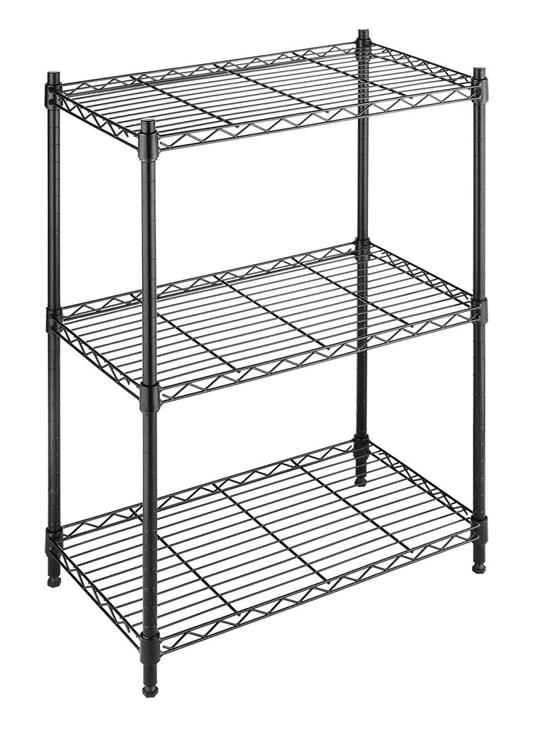 Whitmor Adjustable 3 Tier Shelving with Leveling Feet - Black