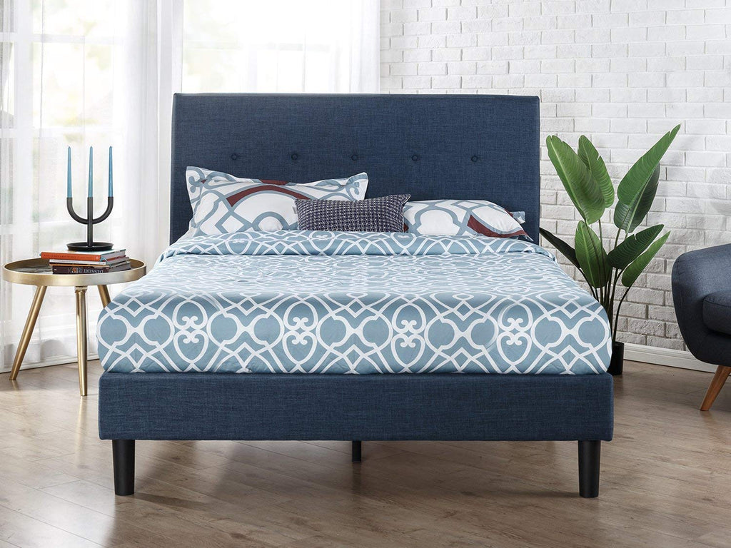 Zinus Upholstered Navy Button Detailed Platform Bed/Wood Slat Support, Full