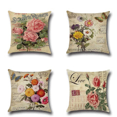 XIECCX Throw Pillow Covers Decorative Pillowcases Set of 4 - Linen Cotton Cover Constellation for Sofa,Bed,Chair,Auto Seat 18 x 18 inch(Spring Flower