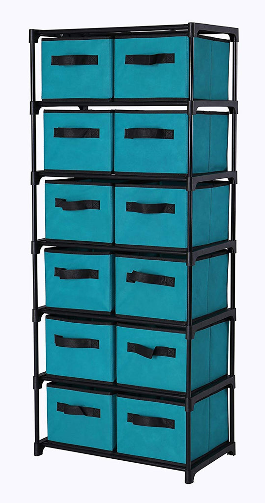 "Homebi Storage Chest Shelf Unit 12-Drawer Storage Cabinet with 6-Tier Metal Wire Shelf and 12 Removable Non-woven Fabric Bins in Turquoise,20.67""W x 1"