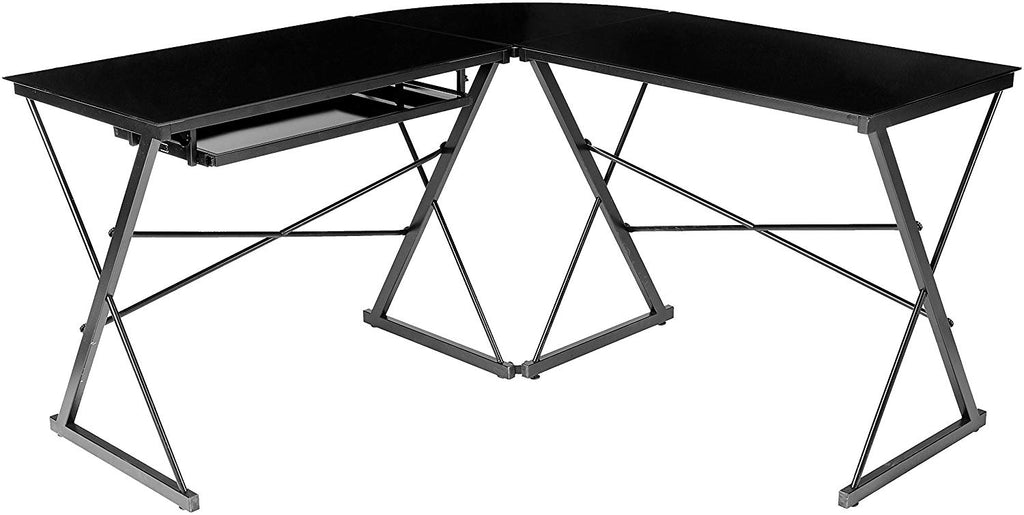 AmazonBasics Three-Piece Glass Desk - Black with Clear Glass