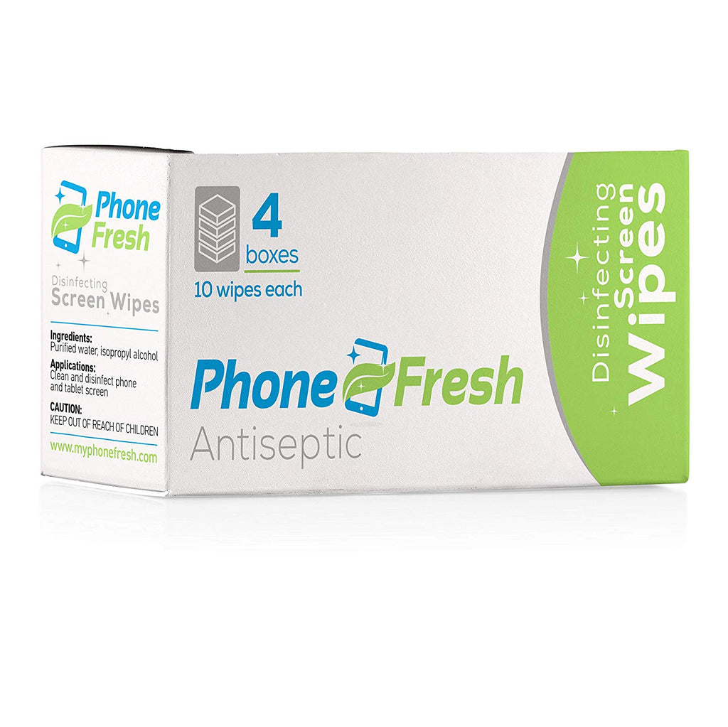 PhoneFresh Disinfecting Screen Wipes, Pre-Moistened Cleansing Cloths for Phones and Lenses (4 Pack of 10 Wipe Boxes)