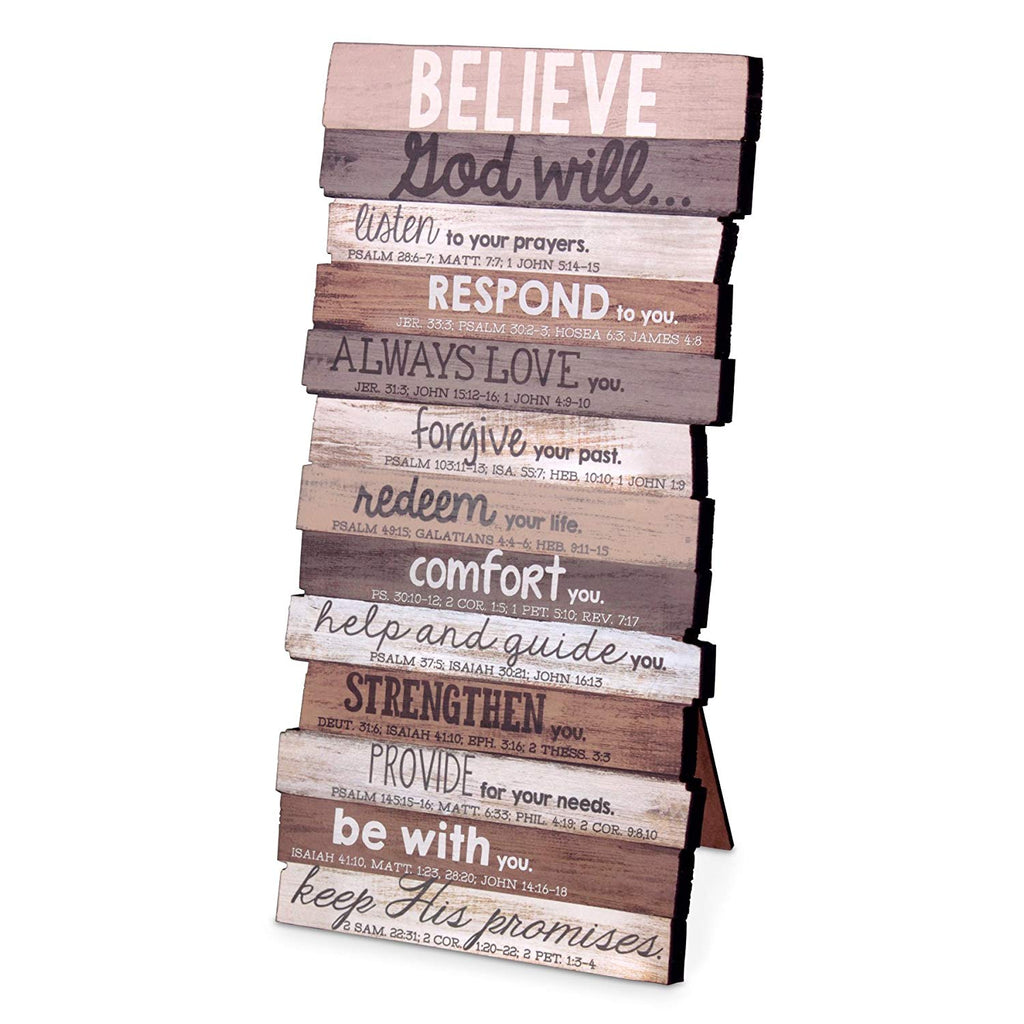 "Lighthouse Christian Products 5"" x 10"" x 1"" Believe Wall Art Plaque"