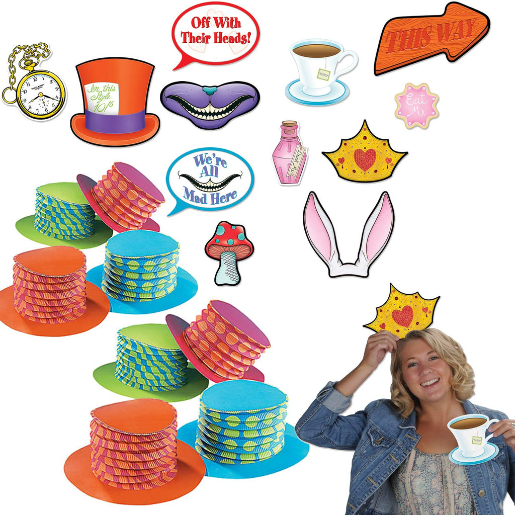 Curated Nirvana Alice in Wonderland Party Prop Bundle | 12 Accordion Hats, 12 Double Sided Photo Props | Great for Tea Parties, Birthdays, Baby Shower