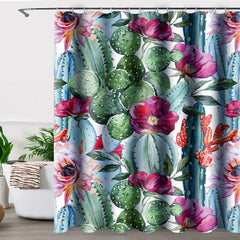 Uphome Fabric Waterproof Shower Curtain, Heavy Duty Tropical Cactus and Flower in Desert Mildew Resistant Stall Curtain Sets for Bathroom and Bathtub