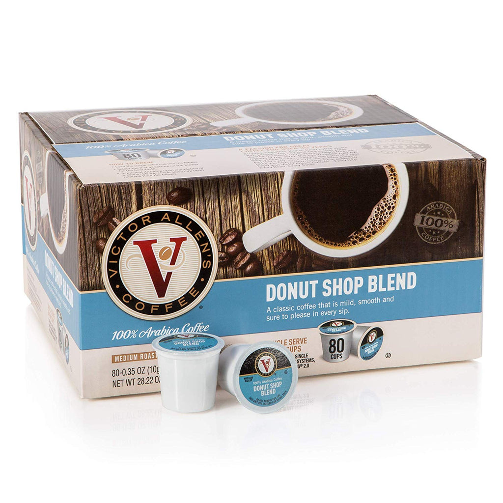 Victor Allen's Coffee K Cups, Decaf Donut Shop Blend Single Serve Medium Roast Coffee, 80 Count, Keurig 2.0 Brewer Compatible