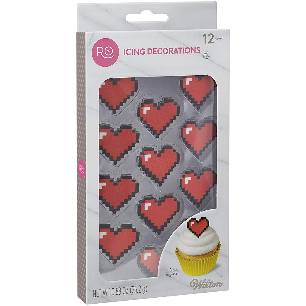 Rosanna Pansino by Wilton 16-Bit Heart Icing Decorations, 12-Ct.
