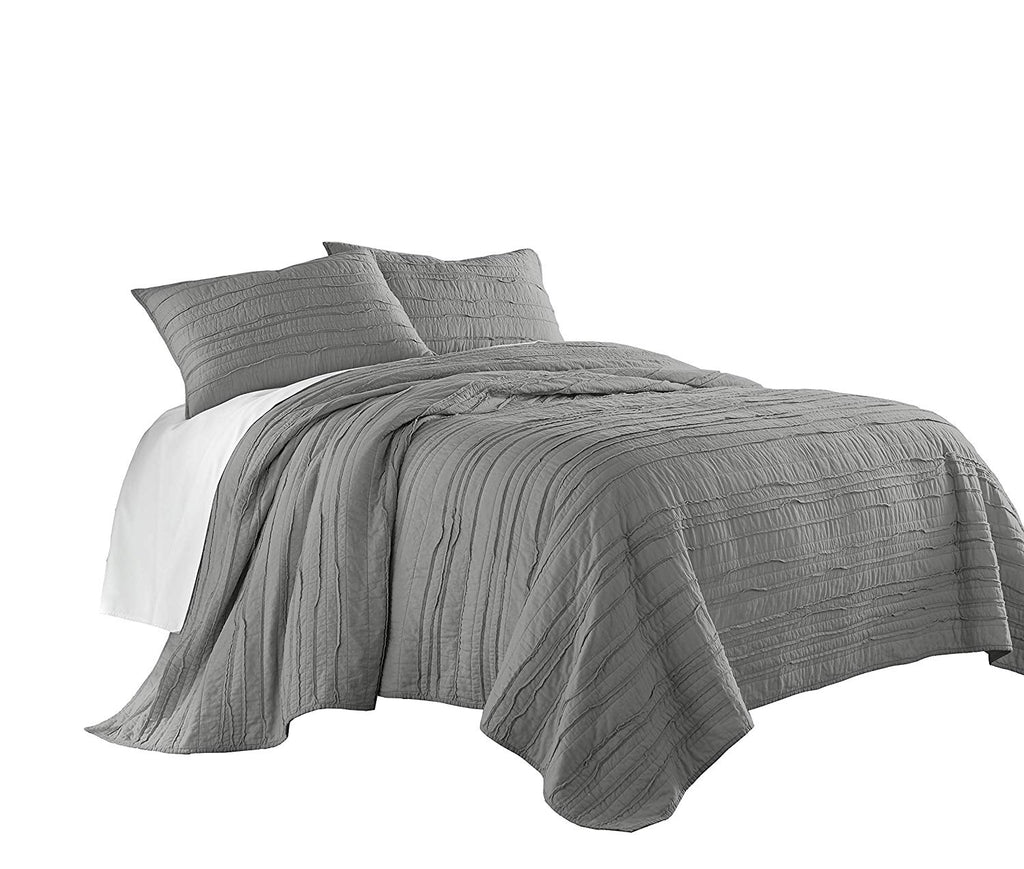 Chezmoi Collection Katy 3pc Solid Pre-Washed 100/% Cotton Frayed Edge Quilt Set