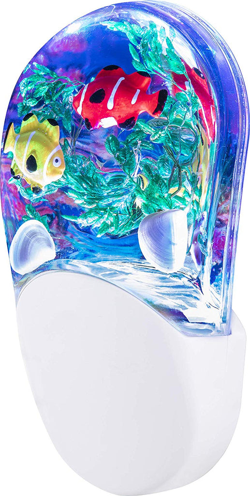 Aqualites 10908 Tropical Fish LED Night Light, Plug-In, Color Changing, Light Sensing, Auto On/Off, Soft Multicolor Glow, Energy Efficient, Features S