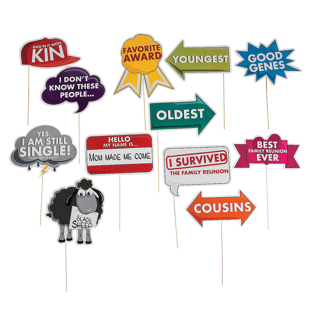 Fun Express Family Reunion Photo Props - 12 Pieces