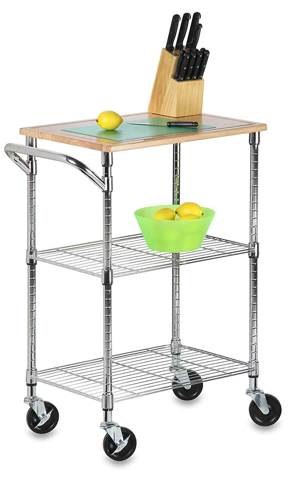 Honey-Can-Do CRT-04346 Rolling Utility Cart with Wooden Top, Chrome Finish