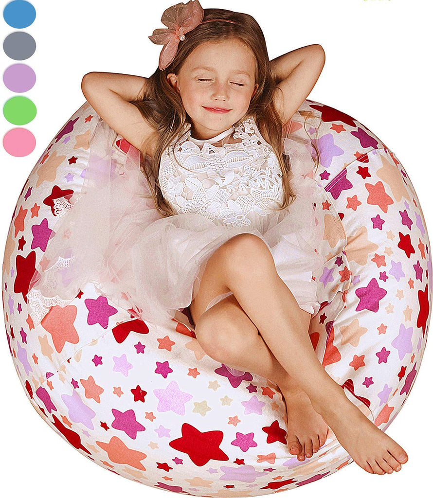 "WEKAPO Kids Stuffed Animal Storage Bean Bag Chair | 38"" Extra Large 