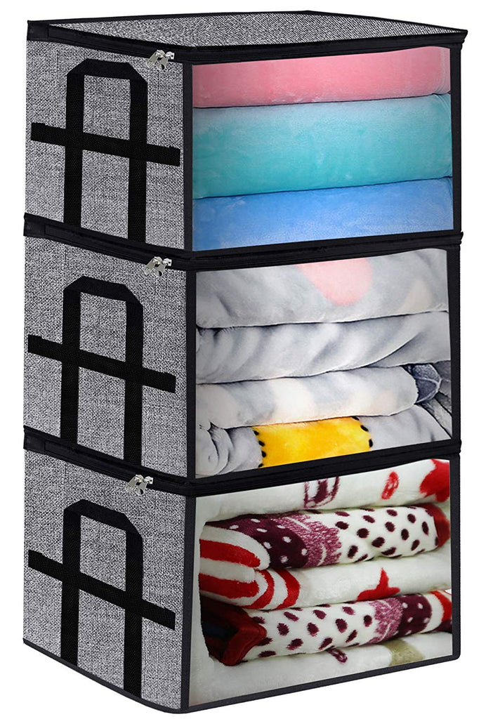 Underbed Storage Bag Containers,Breathable Blanket Clothes Organizer Bins for Comforter Quilt,Tidy Up Your Closet,Shelves,with Clear Window and Metal