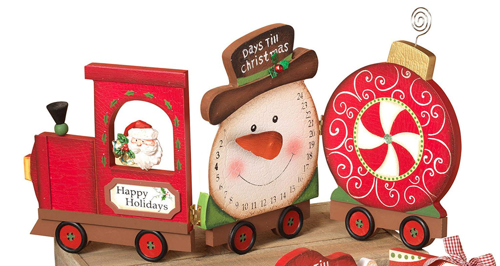 Wooden Santa or Snowman Train Christmas Countdown Calendar - Tabletop Holiday Decoration (Snowman)