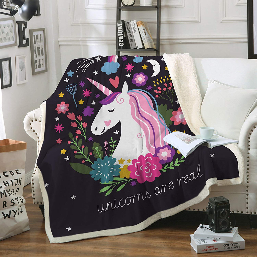"Sleepwish Cute Unicorn Blanket Girls Cartoon Unicorn with Flowers Fleece Blanket Black Sherpa Blanket for Kids Adults (Throw 50""x60"")"
