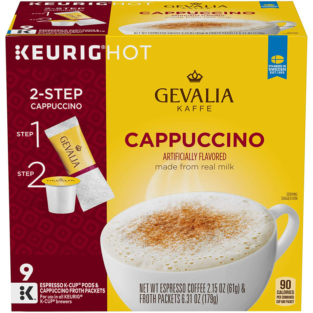 GEVALIA Cappuccino K-CUP Pods and Froth Packets, 9 Count