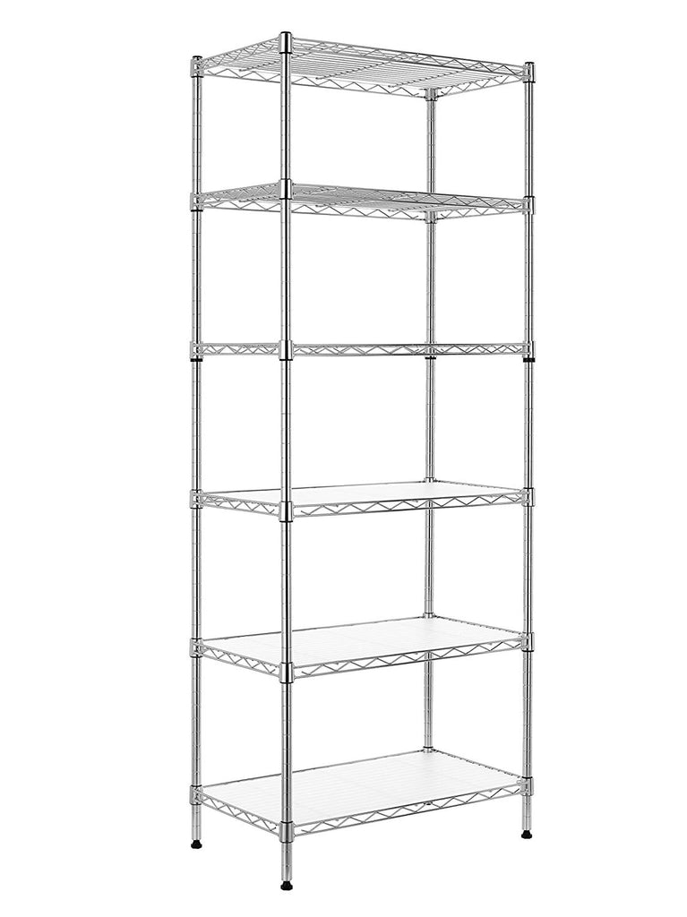Finnhomy 6-Tier Wire Shelving Unit Adjustable Steel Wire Rack Shelving 6 Shelves Steel Storage Rack or Two 3 Tier Shelving Units with PE mat and Stabl