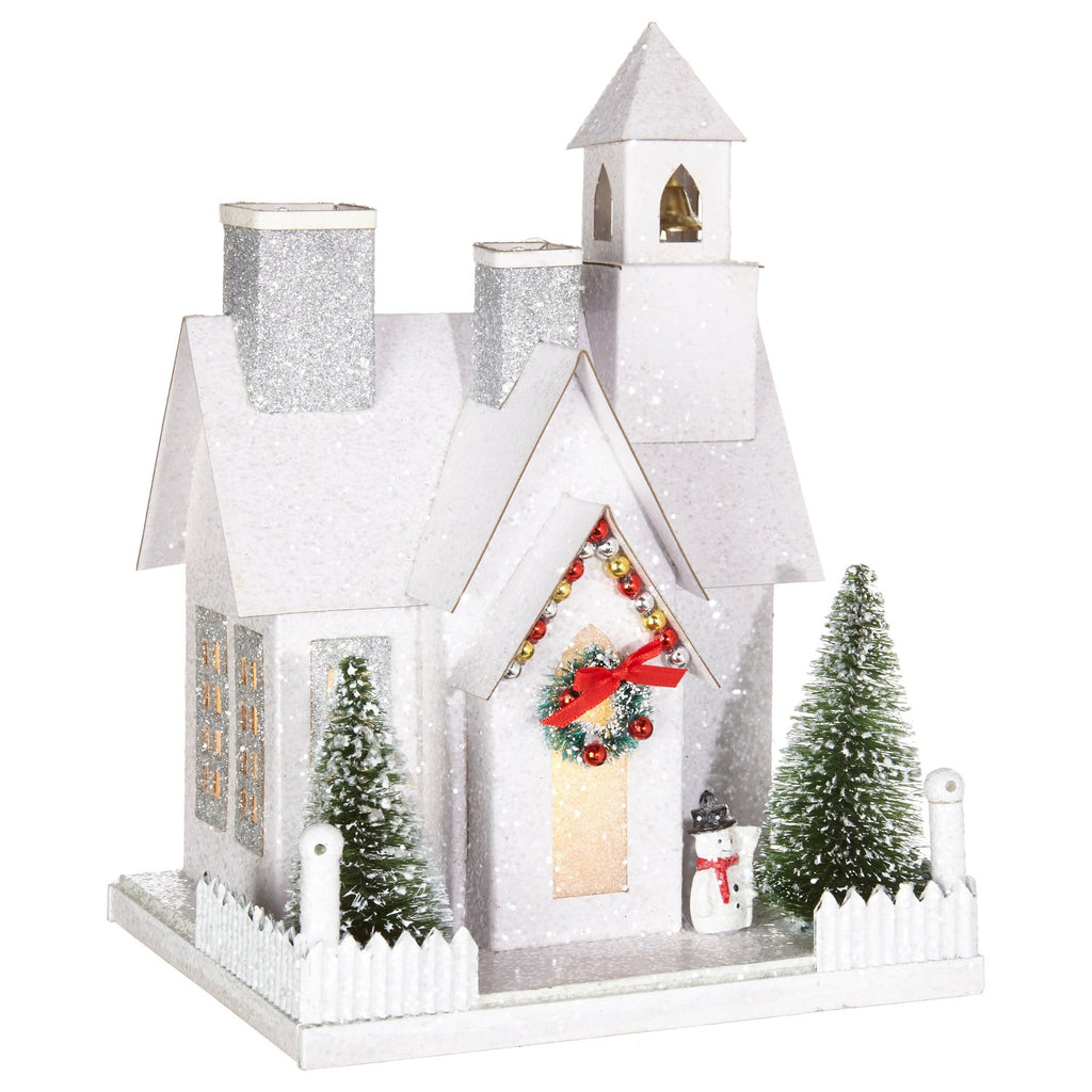 Lighted White Glitter Traditional Christmas Village Church - Tabletop Holiday Decoration