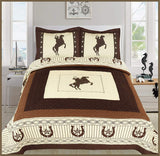 Sapphire Home 3 Piece King Size Quilt Bedspread Set w/2 Pillow Shams, Western Design Collection, Wild Horse Country/Horseshoe/Star/Cowboy Design, King