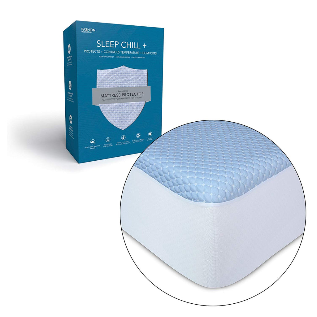 Leggett & Platt Sleep Chill + Crystal Gel Mattress Protector with Cooling Fibers and Blue 3-D Fabric, California King