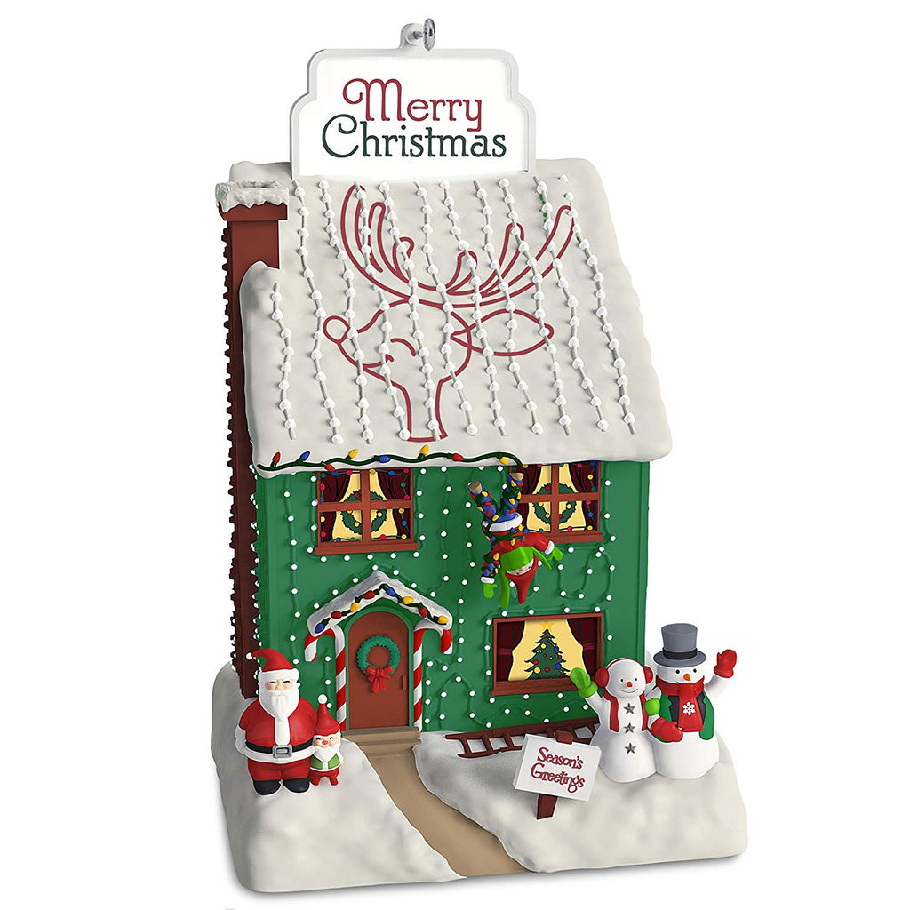 Hallmark Christmas Ornament Deck The House Santa and Snowman with Music and Light, Crazy