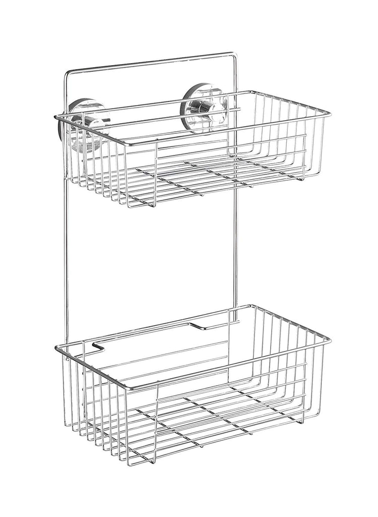 WENKO 20889100 Vacuum-Loc 2-Tier wall rack Bari - fixing without drilling, Steel, 10.2 x 15 x 6.7 inch, Chrome