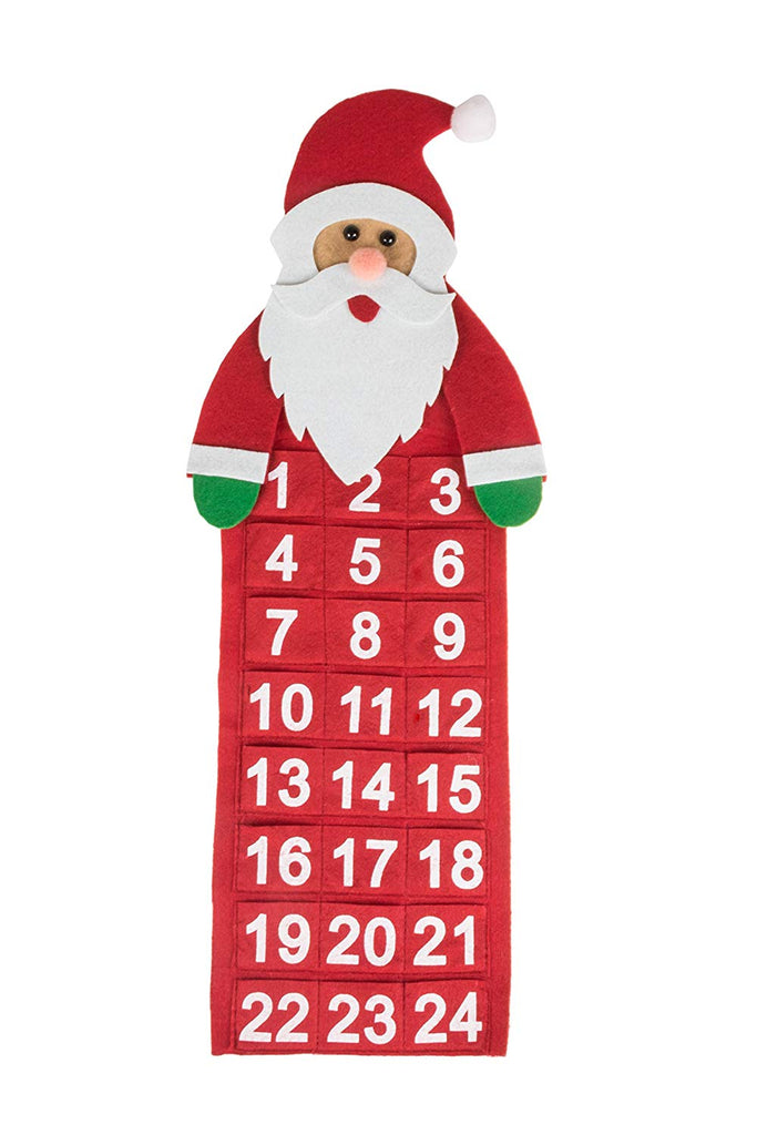 Christmas 24 Day Hanging Cloth Advent Calendar | Red and White Santa Claus' Face Christmas Design | Traditional Holiday Christmas Decor Theme | Perfec