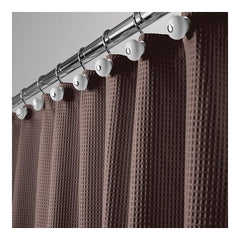 mDesign Long Polyester/Cotton Blend Fabric Shower Curtain with Waffle Weave and Rustproof Metal Grommets for Bathroom Showers and Bathtubs, 72