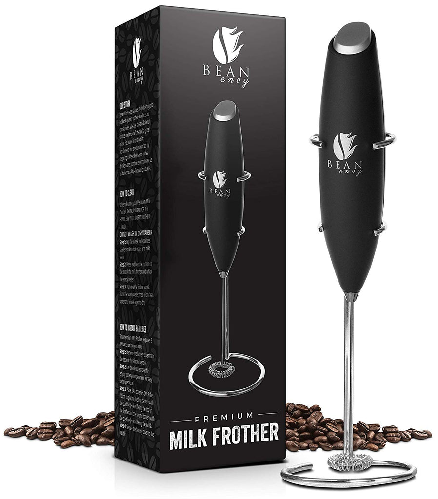 Bean Envy Milk Frother Handheld - Perfect For The Best Latte - Whip Foamer - Includes Stainless Steel Stand