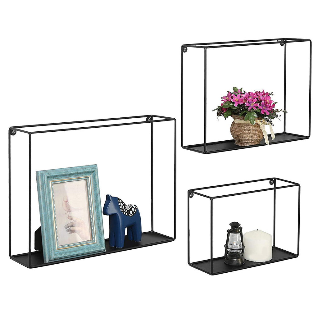 Modern Metal Wire Frame Shadow Boxes, Decorative Wire Cube Floating Shelves, Set of 3, Black