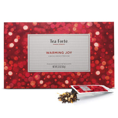 Tea Forté WARMING JOY Single Steeps Loose Leaf Tea Sampler Gift Set, Assorted Variety Holiday Tea Box, 15 Single Serve Pouches, Festive Winter