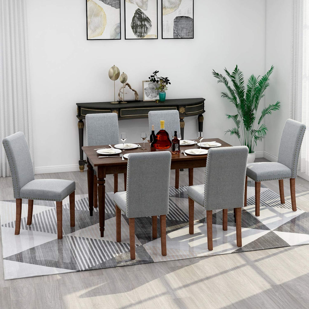 Merax Fabric Upholstered Dining Chairs Set of 2 with Copper Nails and Solid Wood Legs (Nail Grey Set of 6)
