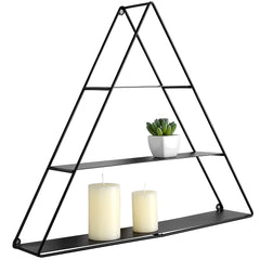 MyGift 3 Tier Triangular Matte Black Metal Display Shelf, Wall Mounted Pyramid Rack