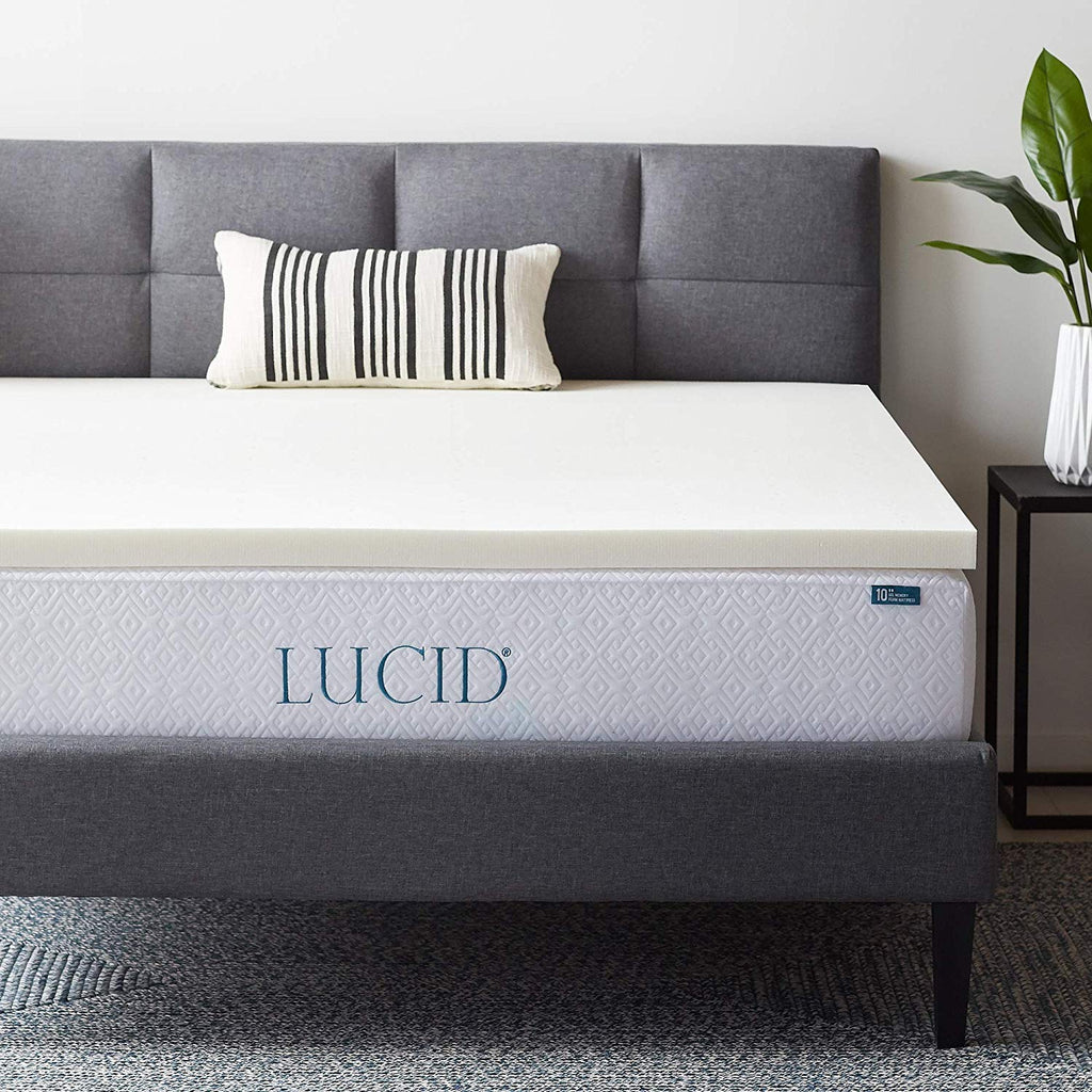 LUCID 4 Inch Ventilated Memory Foam Mattress Topper - 3-Year U.S. Warranty - Twin XL