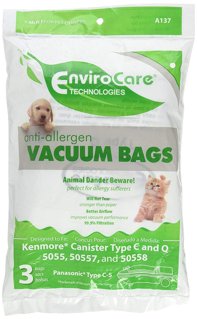 EnviroCare Replacement Anti-Allergen Vacuum Bags for Kenmore Canister Type C or Q 50555, 50558, 50557 and Panasonic Type C-5 9 Pack