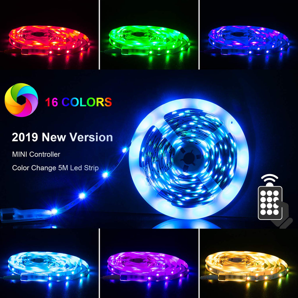 PANGTON VILLA LED Strip 16.4ft RGB 5050LEDs Color Changing Full Kit with 24key Remote Control and Power Supply Mood Lighting for Home Kitchen Christma
