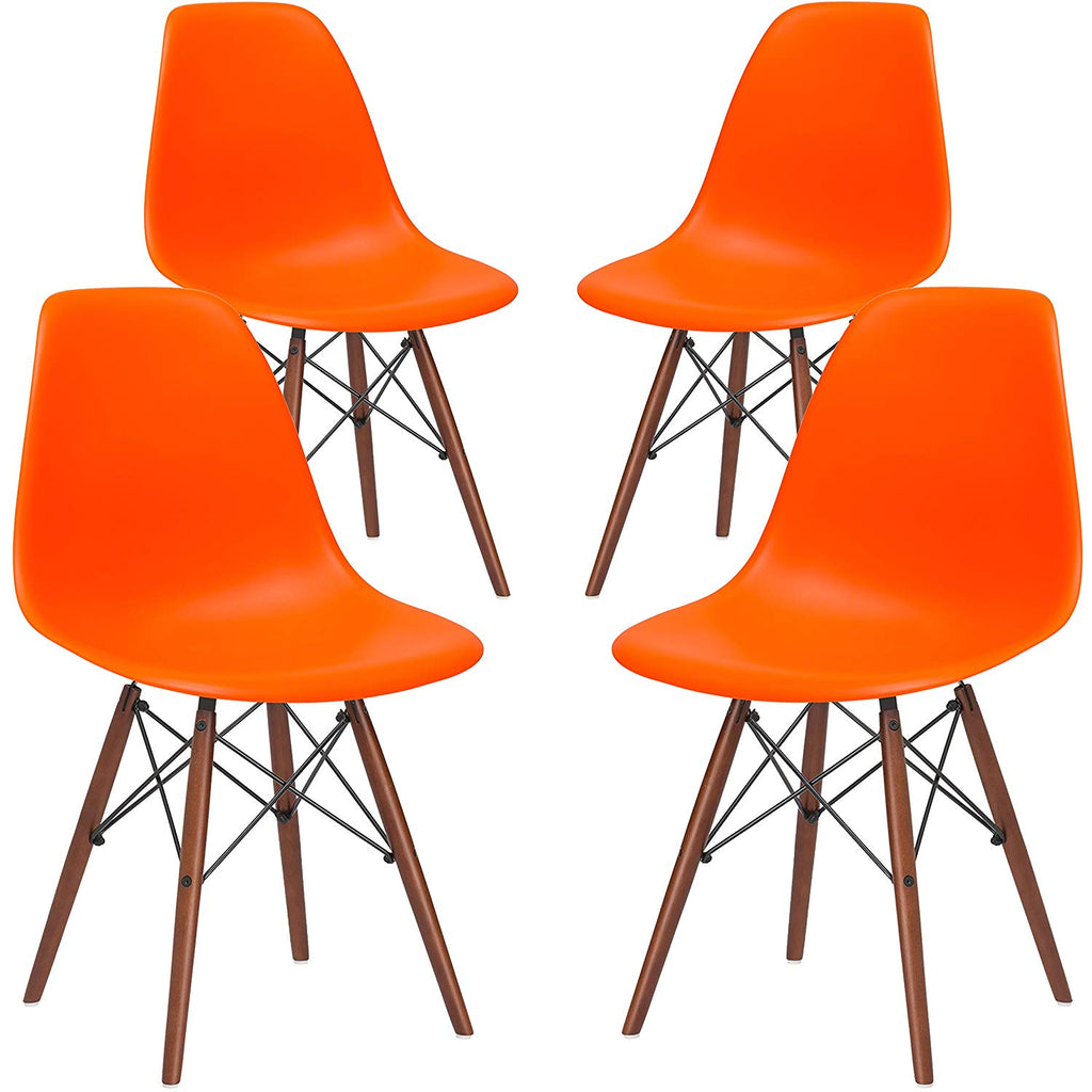 Poly and Bark Eames Style Molded Plastic Dowel-Leg Vortex Side Chair Walnut Legs in Orange (Set of 4)