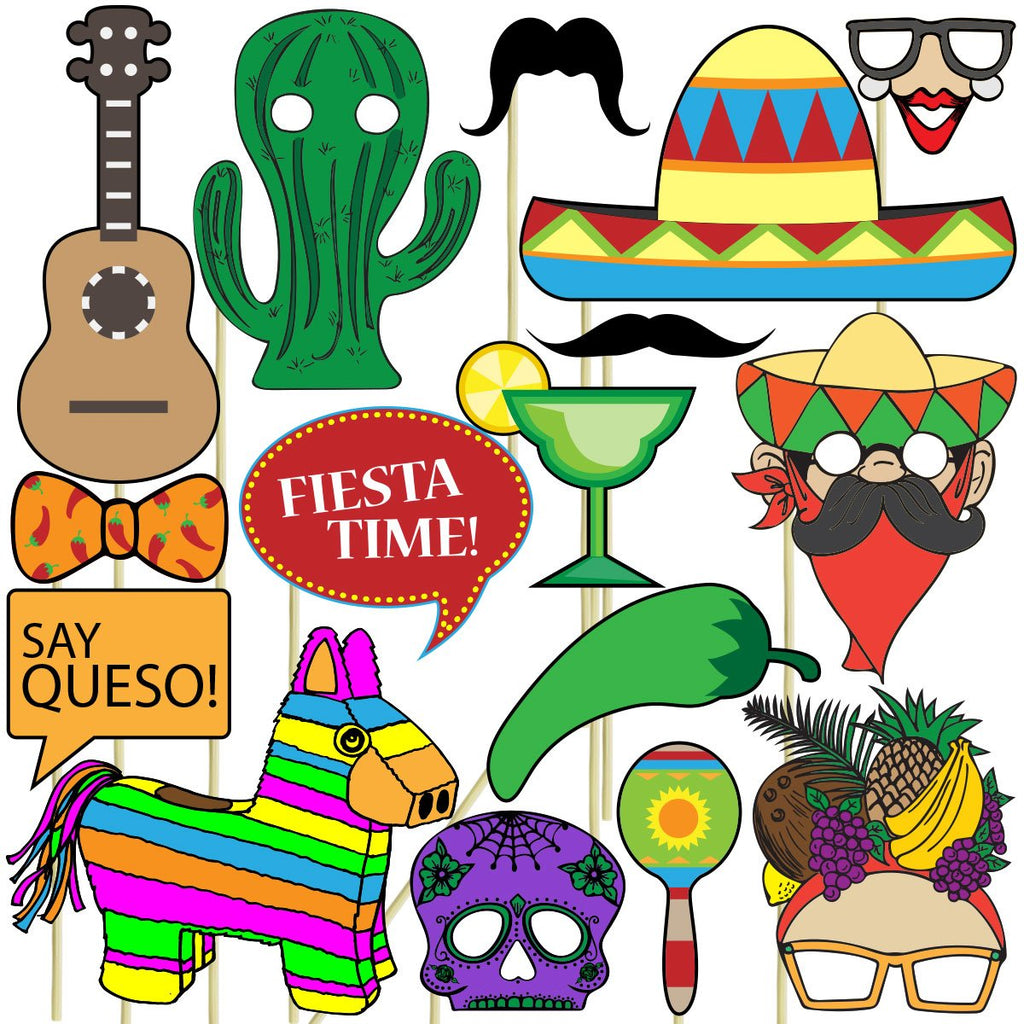 Fiesta Photo Props (32 Pieces) for Photo Booths, Selfies, Great for Cinco De Mayo Themes, Day of the Dead Parties and More! Party Favors are Pre-Made