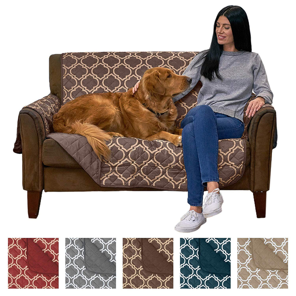Home Fashion Designs Adalyn Collection Deluxe Reversible Quilted Furniture Protector. Beautiful Print on One Side/Solid Color on The Other for Two Fre