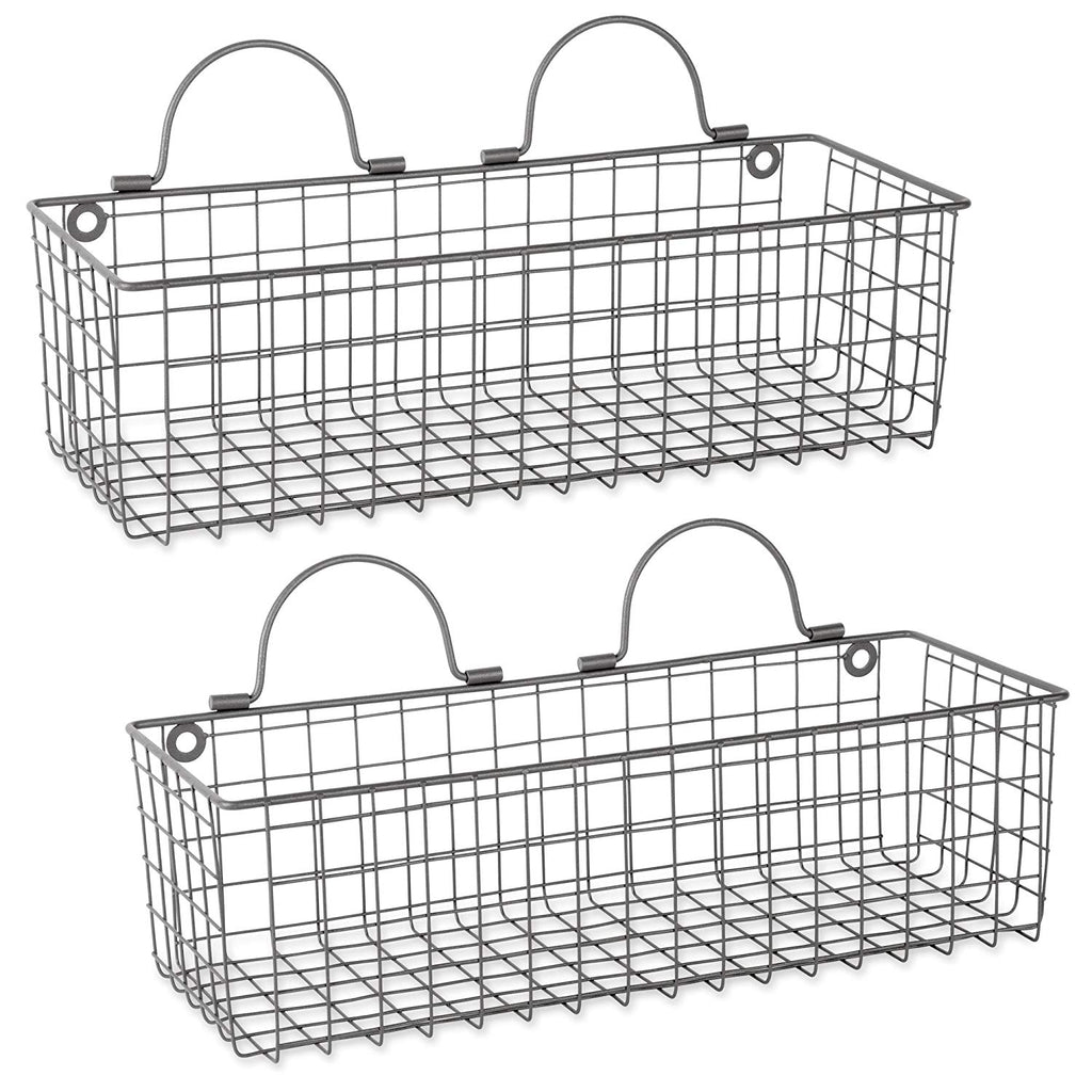 DII Z01657 Rustic Farmhouse Vintage Hanging Wall Mounted Wire Metal Basket Set of 2 Assorted Bronze