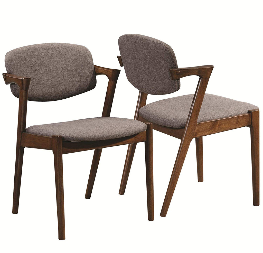 Malone Dining Side Chairs Grey and Dark Walnut (Set of 2)
