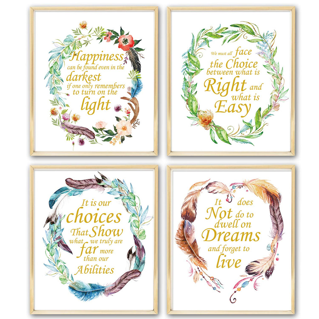 Harry Potter Quotes & Sayings Art Prints | Set of Four Photos 8x10 Unframed | Great Harry Potter Gifts | Dumbledore Harry Potter Quote Nursery Decor W