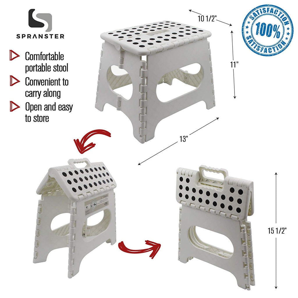 "Super Strong Folding Step Stool - 11"" Height - Holds up to 300 Lb - The lightweight foldable step stool is sturdy enough to support adults & safe enou"